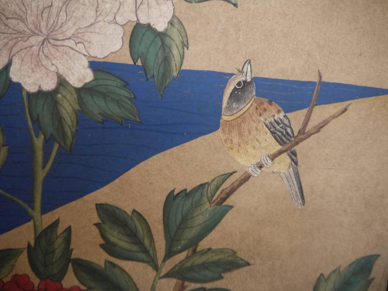 Chinese Handpainted Screen by Gracie - Gold Leaf, Peonies and Peacocks For Sale