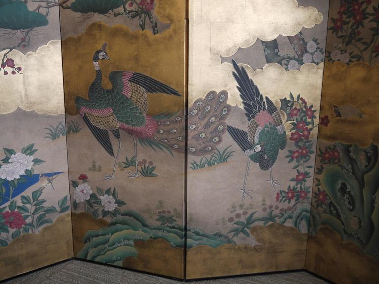 Handpainted Screen by Gracie - Gold Leaf, Peonies and Peacocks For Sale 2
