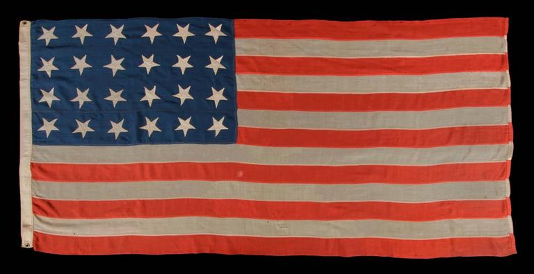 24 stars and 13 stripes on a southern exclusionary flag of the civil