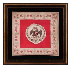 Rare, Silk, Patriotic Kerchief with Dynamic Eagle and 13 Mariner's Compass Stars