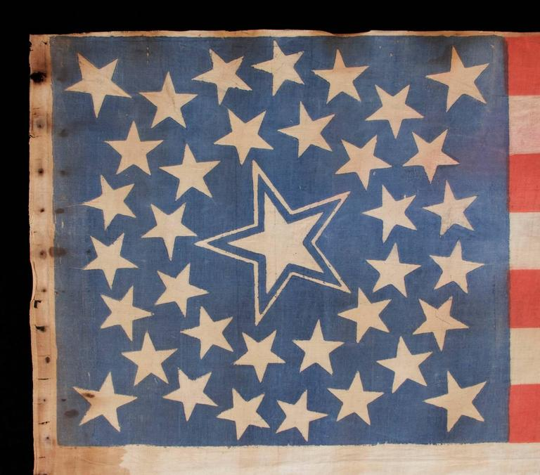 North American 36 Stars in a Medallion Configuration on a Large Scale Parade Flag For Sale