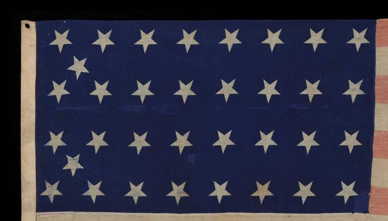 American 34 Star Civil War Period Flag with Unusual Woven Stripes and Press Dyed Stars For Sale