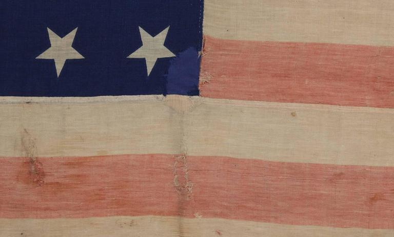 34 Star Civil War Period Flag with Unusual Woven Stripes and Press Dyed Stars In Good Condition For Sale In York County, PA
