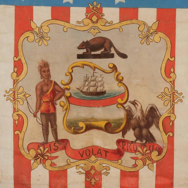 Hand-Painted Patriotic Banner with the Seal of the State of Oregon In Good Condition For Sale In York County, PA
