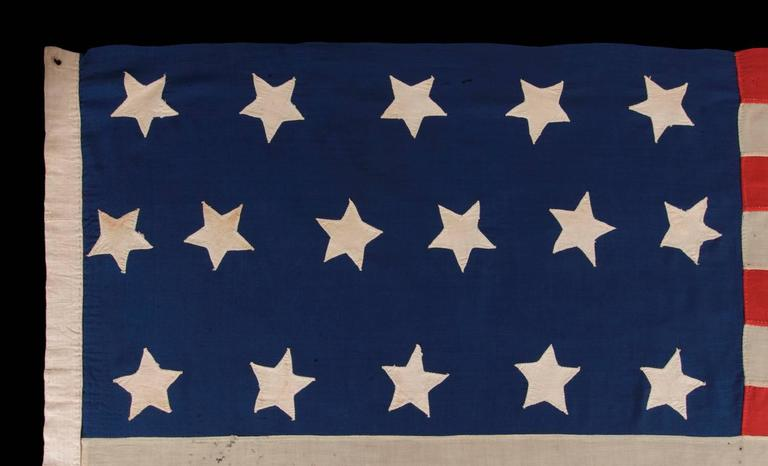 Entirely Hand-Sewn Antique American Flag with 16 Stars, Tennessee Statehood In Good Condition For Sale In York County, PA