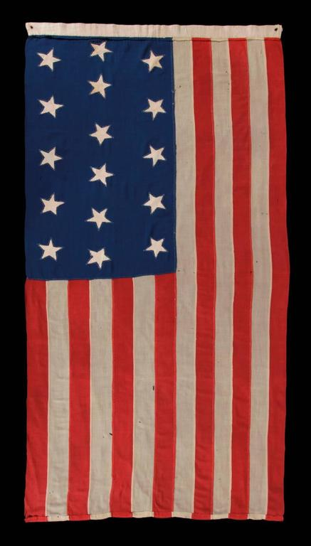 Entirely Hand-Sewn Antique American Flag with 16 Stars, Tennessee Statehood For Sale 3