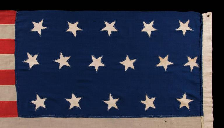 Entirely Hand-Sewn Antique American Flag with 16 Stars, Tennessee Statehood For Sale 4