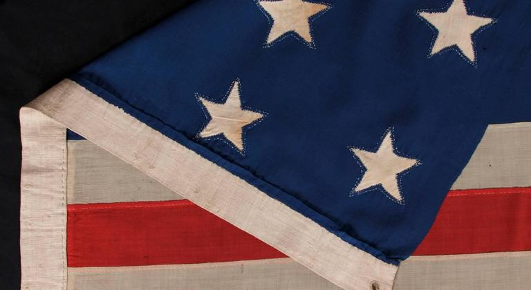 Entirely Hand-Sewn Antique American Flag with 16 Stars, Tennessee Statehood For Sale 2