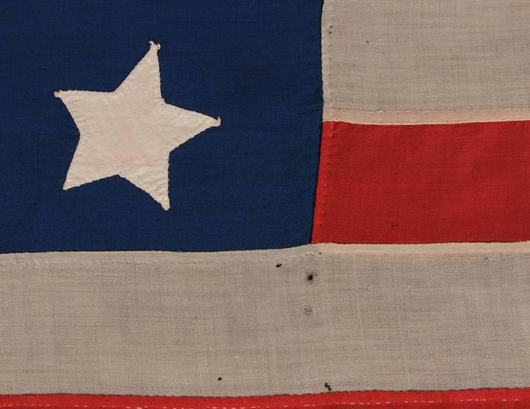Mid-19th Century Entirely Hand-Sewn Antique American Flag with 16 Stars, Tennessee Statehood For Sale