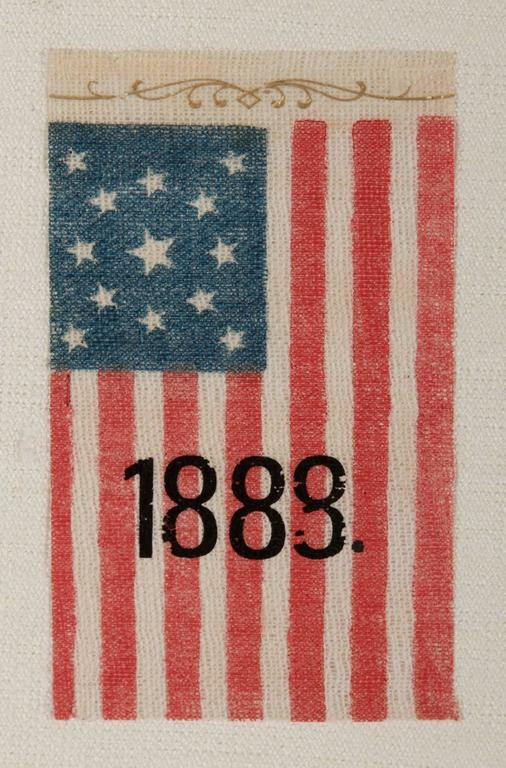 13 Star, Centennial Era, Antiques American Parade Flag with Overprinted Date 2