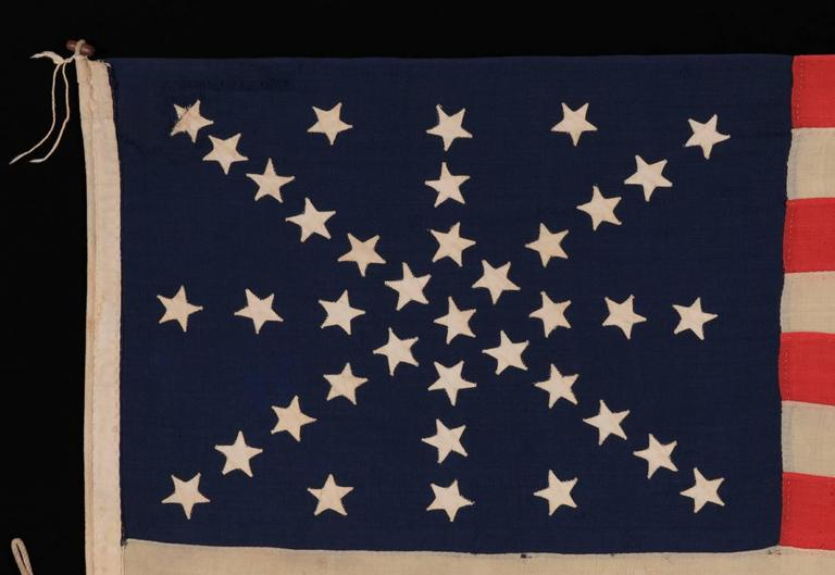 a5e35d41763 38 Stars on an Entirely Hand-Sewn Antiques American Flag In Good Condition  For Sale