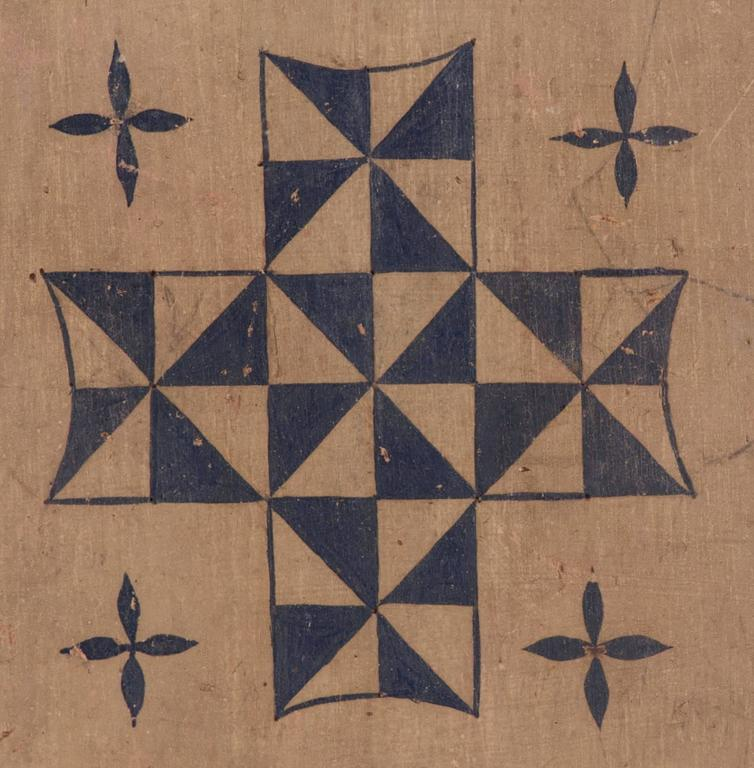 Masterpiece quality combination fox and geese and mill game board, in original and untouched red, ochre white and blue paint, with pinwheel quilt pattern design in the centre and a winding vine border, circa 1820-1845, with checkers on the reverse,