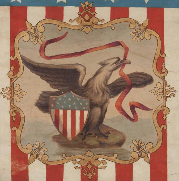 HAND-PAINTED PATRIOTIC BANNER WITH THE SEAL OF THE STATE OF ILLINOIS AND GREAT FOLK QUALITIES PROBABLY MADE FOR THE 1868 DEMOCRAT NATIONAL CONVENTION AT TAMMANY HALL IN NEW YORK CITY:   Swallowtail format, patriotic vertical banner bearing the name
