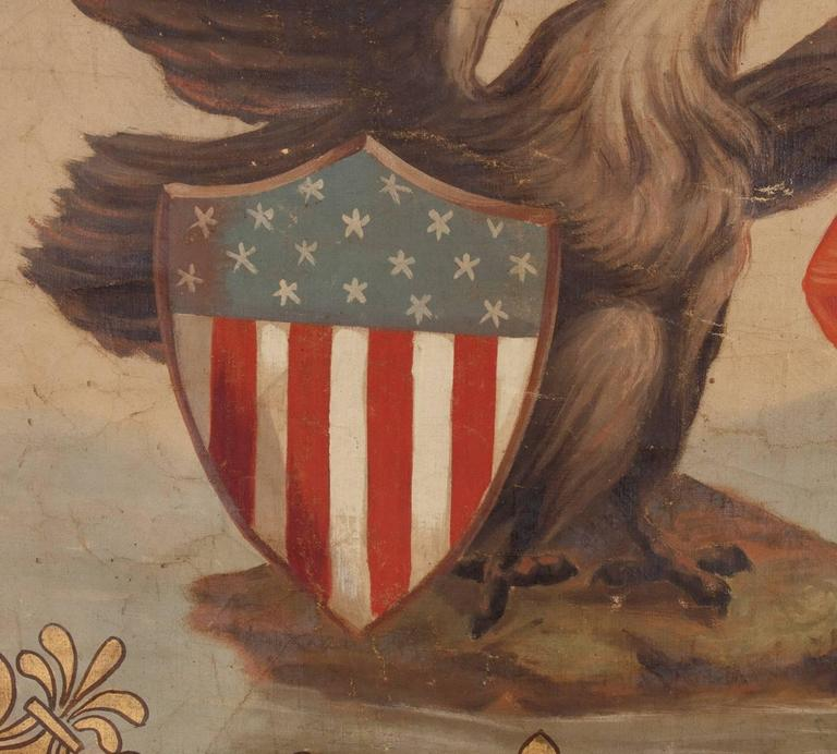 Hand-Painted Patriotic Banner With The Seal of the State of Illinois In Good Condition For Sale In York County, PA
