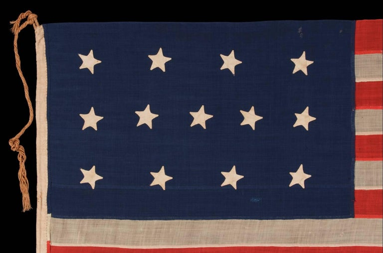 American Entirely Hand-Sewn, 13 Star, U.S Navy Small Boat Ensign Flag For Sale