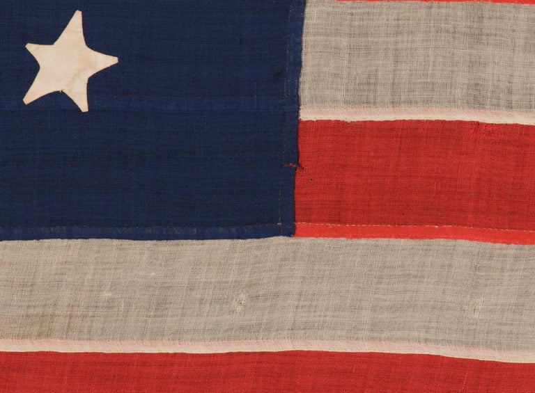 Entirely Hand-Sewn, 13 Star, U.S Navy Small Boat Ensign Flag In Good Condition For Sale In York County, PA