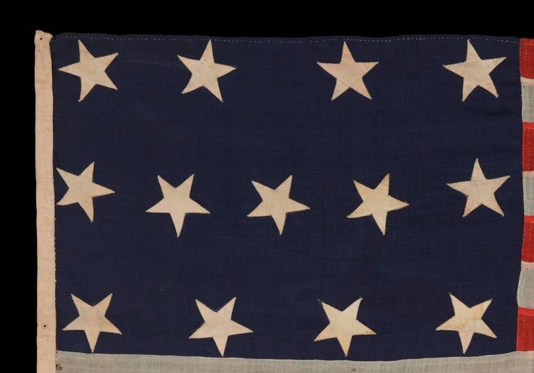 American 13 Entirely Hand-Sewn Stars, U.S. Navy Small Boat Ensign of the Civil War Period For Sale