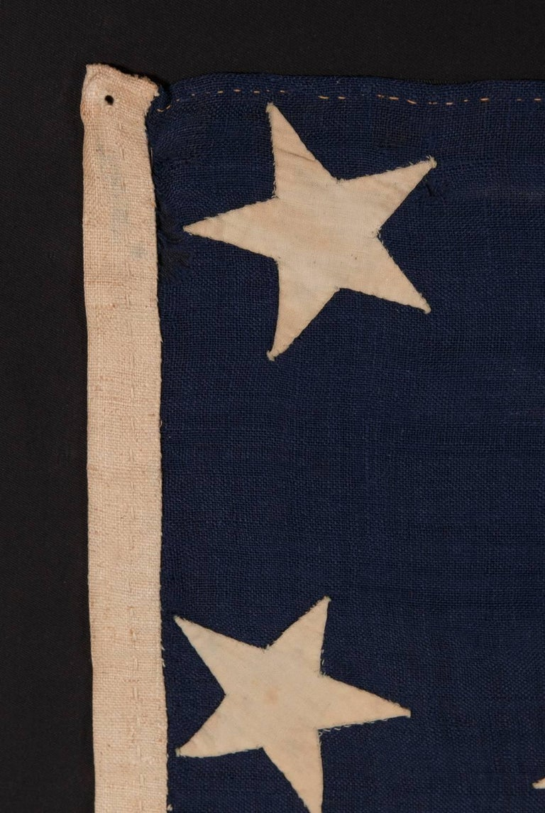 Mid-19th Century 13 Entirely Hand-Sewn Stars, U.S. Navy Small Boat Ensign of the Civil War Period For Sale