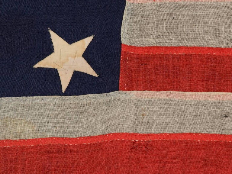 13 Entirely Hand-Sewn Stars, U.S. Navy Small Boat Ensign of the Civil War Period In Good Condition For Sale In York County, PA