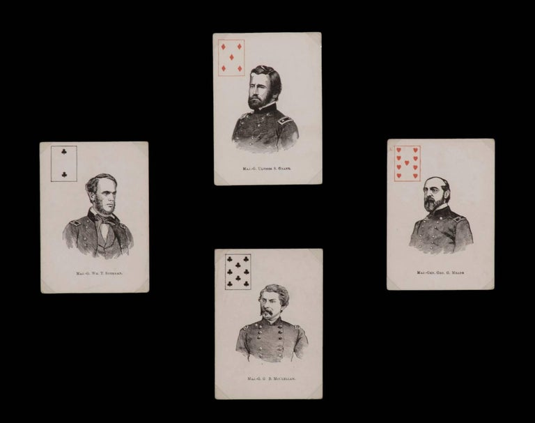 Exceptionally rare complete deck of Civil War period patriotic playing cards featuring 52 Union Generals, published by Mortimer Nelson In New York, 1863: