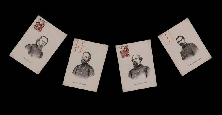Mid-19th Century Exceptionally Rare Complete Deck of Civil War Period Patriotic Playing Cards For Sale