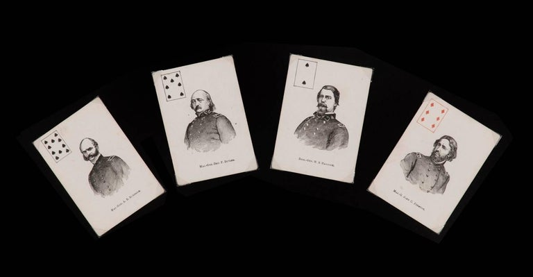 American Exceptionally Rare Complete Deck of Civil War Period Patriotic Playing Cards For Sale