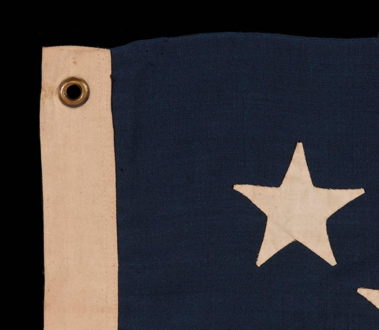 Late 19th Century 13 Hand-Sewn Stars In A Beautiful Medallion Configuration On An Antique Flag For Sale
