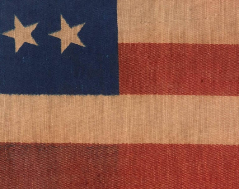 34 Star Antique American Flag, Civil War Period, Possibly a US Army Camp Colors 4