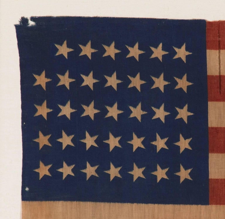 34 Star Antique American Flag, Civil War Period, Possibly a US Army Camp Colors 3
