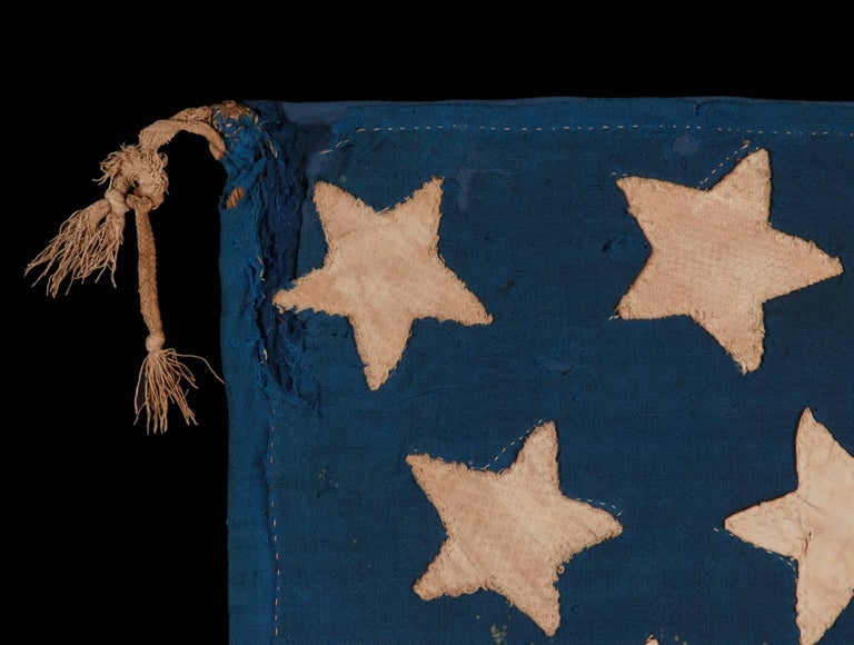 34 Star, Hand-Sewn, Homemade Antique American Flag of the Civil War Period For Sale 1
