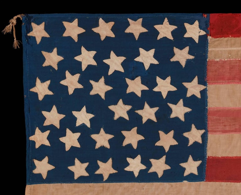 34 Star, Hand-Sewn, Homemade Antique American Flag of the Civil War Period In Good Condition For Sale In York County, PA