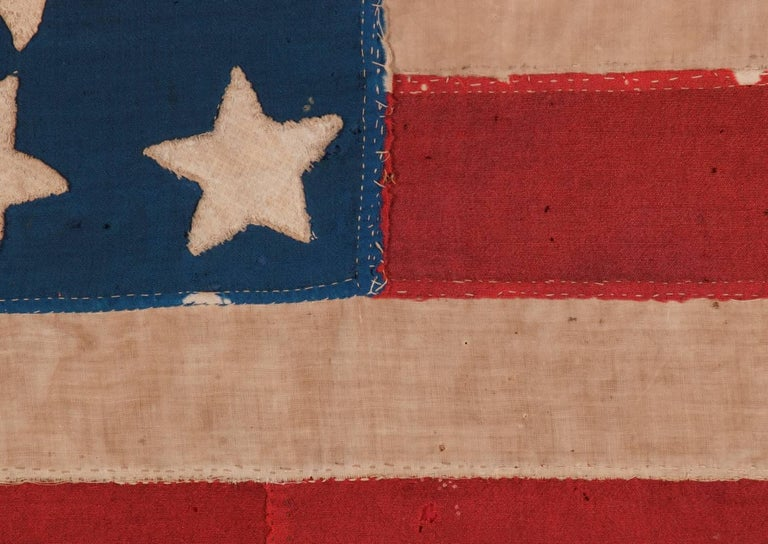 Mid-19th Century 34 Star, Hand-Sewn, Homemade Antique American Flag of the Civil War Period For Sale