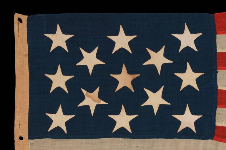 American 13 Stars on a U.S Navy Small Boat Ensign, Entirely Hand-Sewn For Sale