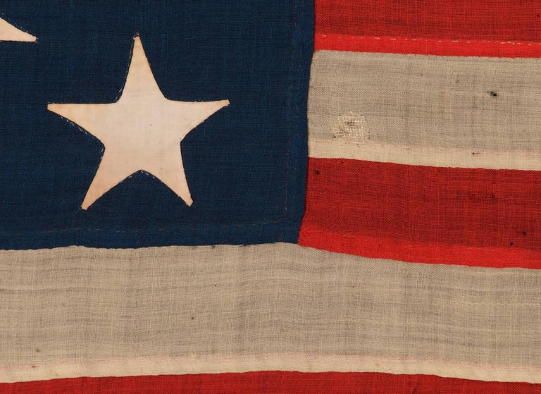 Late 19th Century 13 Stars on a U.S Navy Small Boat Ensign, Entirely Hand-Sewn For Sale