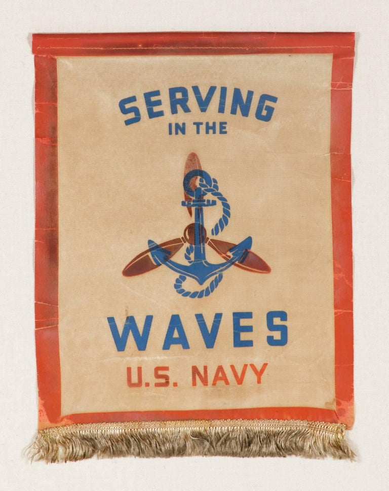 Serving In The Waves: An Extremely Rare WWII service banner for a woman in the U.S. Navy Reserves: