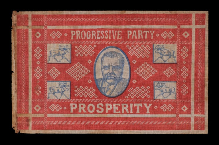 """UNUSUAL AND GRAPHIC KERCHIEF-STYLE PARADE FLAG FROM TEDDY ROOSEVELT'S 1912 BULL """"MOOSE CAMPAIGN"""":   Teddy Roosevelt campaign parade flag, printed in red and blue on coarse white cotton. Designed to mimic a classic, western, red bandana, the overall"""