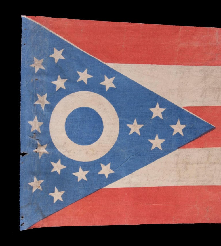 American Early Ohio State Flag with Blue Disc Inside the Buckeye For Sale