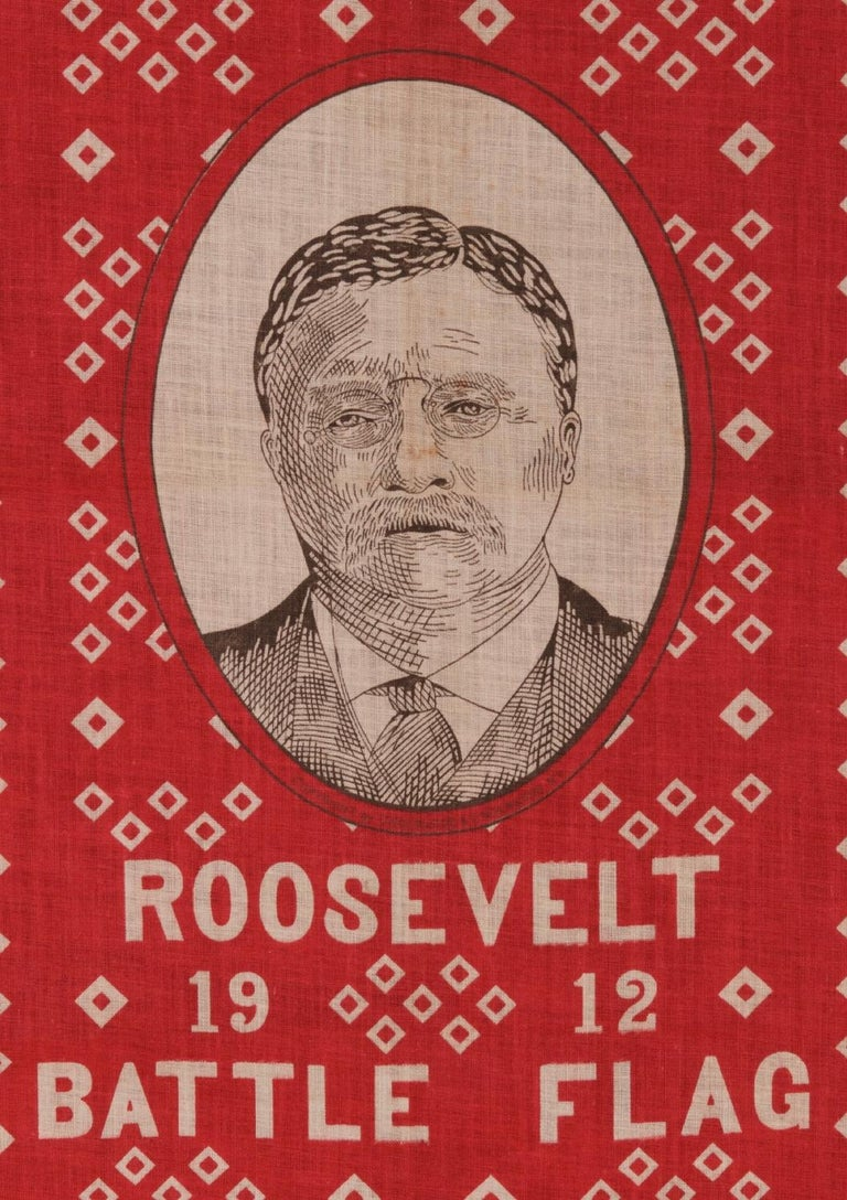 American Roosevelt Battle Flag Kerchief, Made for the 1912 Presidential Campaign For Sale