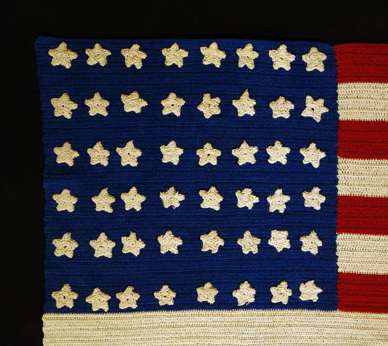 48 Stars Crocheted American Flag, Made During WWI-WWII  In Good Condition For Sale In York County, PA