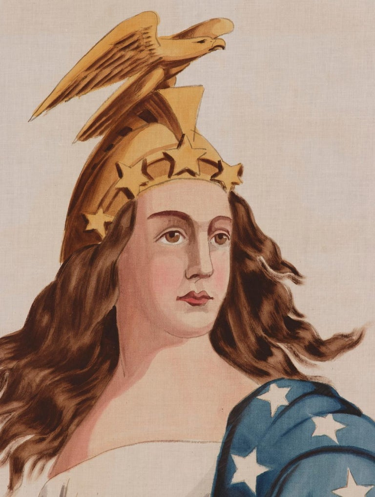 Lady Columbia Surmounting the Globe with Sheathed Sword and Federal Shield In Good Condition For Sale In York County, PA