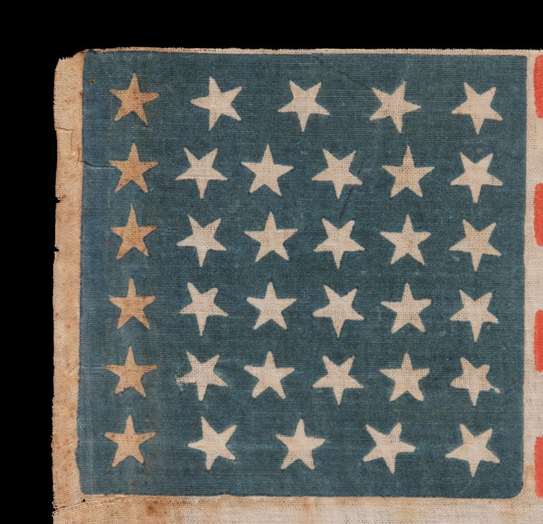34 Stars, With Scatters Positioning, on an Antique American Parade Flag In Good Condition For Sale In York County, PA