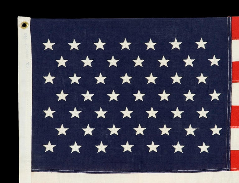 49 Embroidered Stars on a Small Scale Pieced and sewn American Flag In Good Condition For Sale In York County, PA