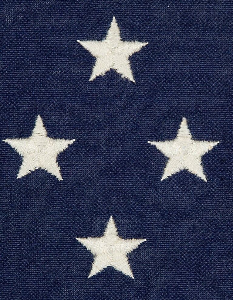 Mid-20th Century 49 Embroidered Stars on a Small Scale Pieced and sewn American Flag For Sale