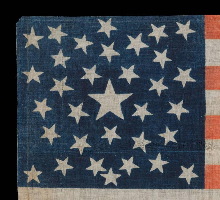 American 1860 Lincoln Campaign Parade Flag with 33 Stars in a Pentagon Medallion For Sale