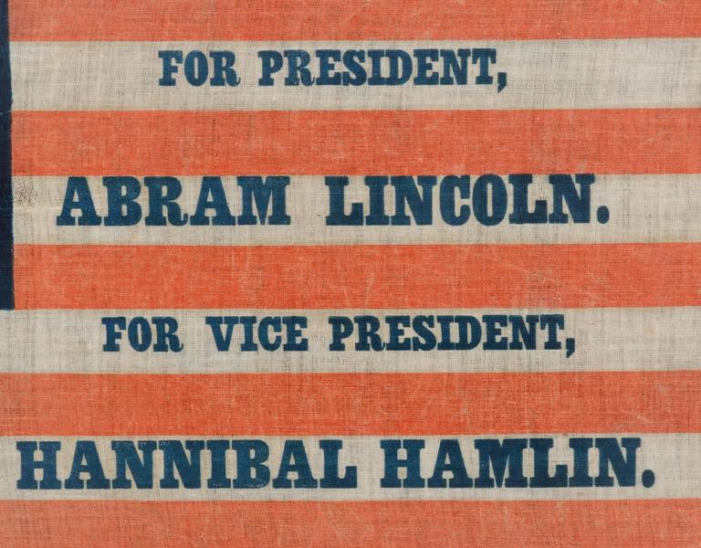 1860 Lincoln Campaign Parade Flag with 33 Stars in a Pentagon Medallion In Good Condition For Sale In York County, PA
