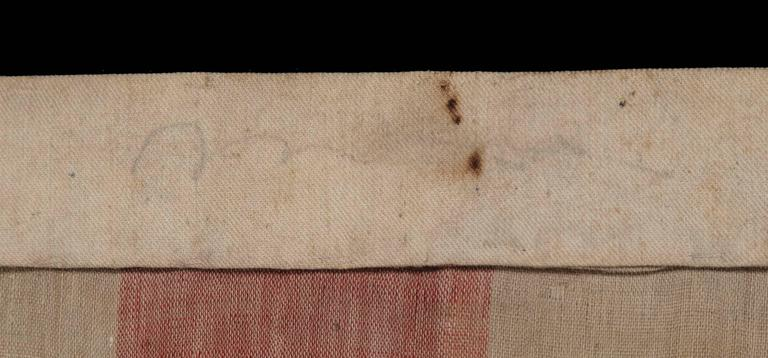 Mid-19th Century 34 Star Civil War Period Flag with Unusual Woven Stripes and Press Dyed Stars For Sale