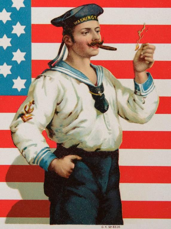 Other Antique American Flag Cigar Label with Sailor & 42 Six-Pointed Stars, 1889-1920