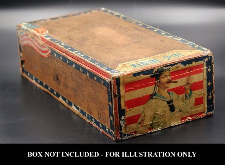 Paper Antique American Flag Cigar Label with Sailor & 42 Six-Pointed Stars, 1889-1920