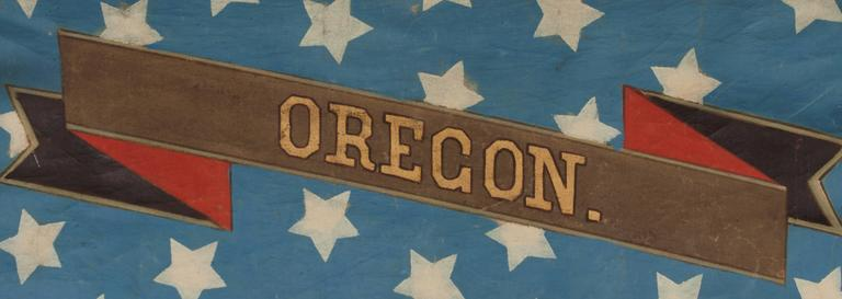 American Hand-Painted Patriotic Banner with the Seal of the State of Oregon For Sale