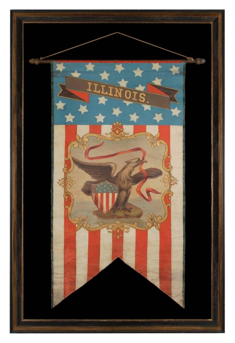 Mid-19th Century Hand-Painted Patriotic Banner With The Seal of the State of Illinois For Sale
